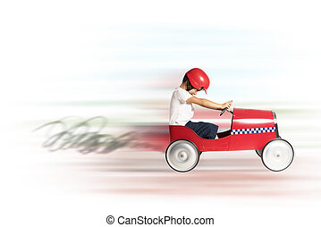 Speedy car toy - Boy child play and runs with toy car