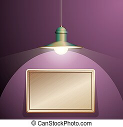 Ancient lamp hanging. Big and empty bronze plate illuminated on the purple wall.