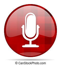 microphone red round circle glossy modern design web icon -...