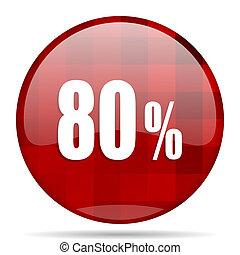 80 percent red round circle glossy modern design web icon