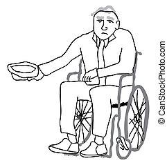 Disabled senior begging