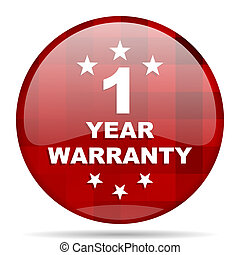 warranty guarantee 1 year red round circle glossy modern...