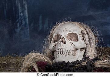 Grim Reaper Skull - Grim reaper skull in a smoky halloween...