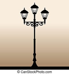 Street light. - The black silhouette of a retro lantern....
