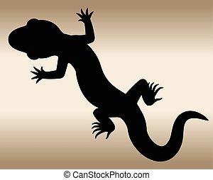 Lizard. - The black silhouette of a reptile. Vector...