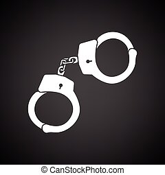 Police handcuff icon Black background with white Vector...
