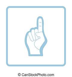 American football foam finger icon. Blue frame design....