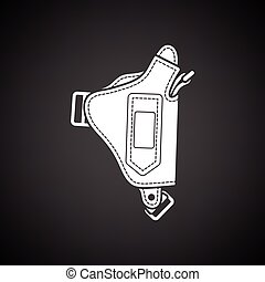 Police holster gun icon. Black background with white. Vector...
