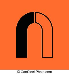 Magnet icon. Orange background with black. Vector...