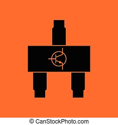 Smd transistor icon Orange background with black Vector...