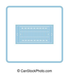 American football field mark icon. Blue frame design. Vector...