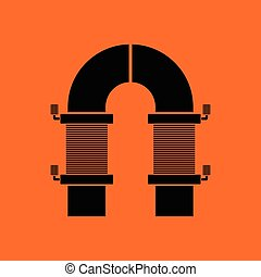Electric magnet icon. Orange background with black. Vector...