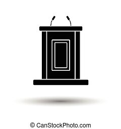 Witness stand icon. White background with shadow design....