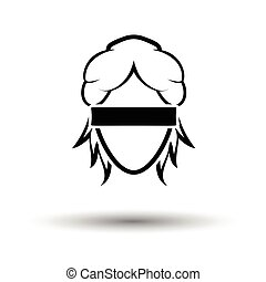 Femida head icon. White background with shadow design....