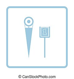 American football sideline markers icon. Blue frame design....
