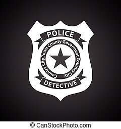 Police badge icon. Black background with white. Vector...