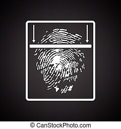 Fingerprint scan icon. Black background with white. Vector...
