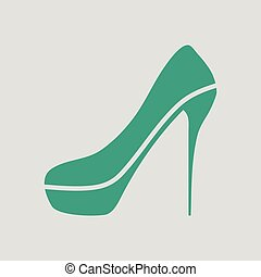 high heel shoe icon. Gray background with green. Vector...