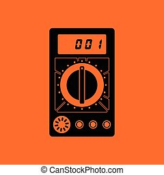 Multimeter icon. Orange background with black. Vector...