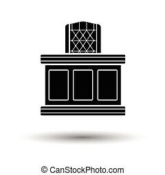 Judge table icon. White background with shadow design....