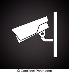 Security camera icon. Black background with white. Vector...