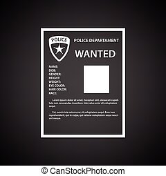 Wanted poster icon. Black background with white. Vector...