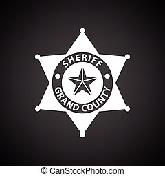 Sheriff badge icon. Black background with white. Vector...