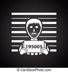 Prisoner in front of wall with scale icon. Black background...