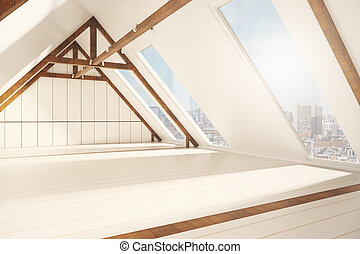 Loft interior with city view side