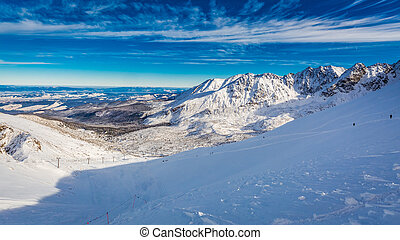 Winter view from the summit of Kasprowy Wierch, Tatra...