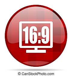 16 9 display red round circle glossy modern design web icon...