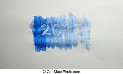 2017 new year text inscription watercolor artist paints blot...