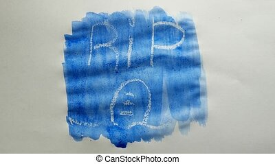 rip grave text inscription watercolor artist paints blot...