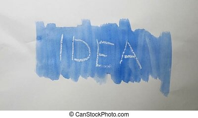 idea text inscription watercolor artist paints blot isolated...