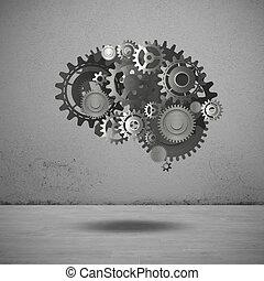Gears mechanism brain 3D Rendering - System of mechanical...