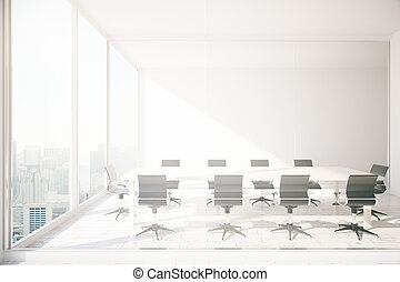Conference room interior with white meeting table, chairs...