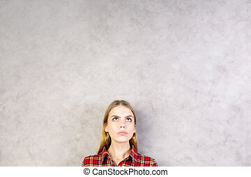 Pretty woman portrait - Portrait of pretty young woman on...