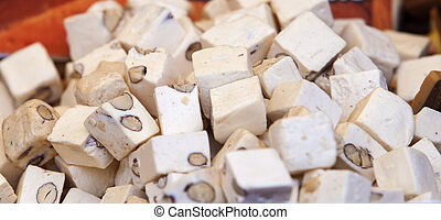 Dice of spanish soft turron - Delicious cubes of spanish...