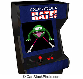 Conquer Hate Beat Defeat Hatred Love Peace Video Game 3d...