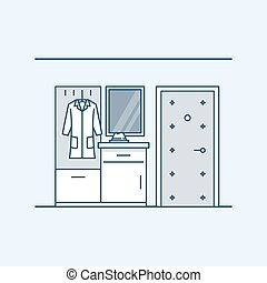 The modern design of the hall. Wardrobe with a bedside table in the hallway near the door. Coat and hat. Vector illustration in a linear style, isolated on a gray background.