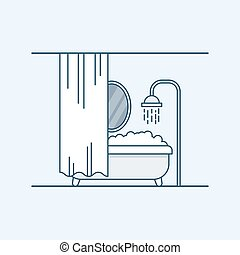 Modern interior design of a bathroom or shower room. Bathroom with foam and fenced mirror shutter. Vector illustration in a linear style, isolated on a gray background.