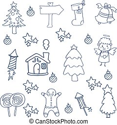 Christmas set element of doodles vector art