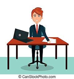 businessman work sitting office desktop design graphic...