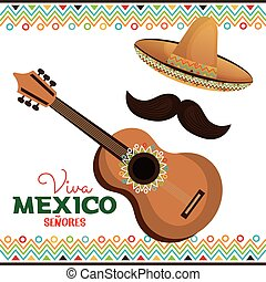 guitar and hat with moustache viva mexico vector...