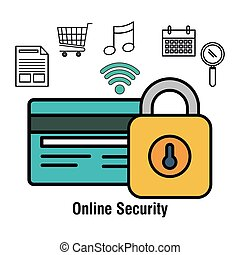 online security lock shpo buy isolated vector illustration...