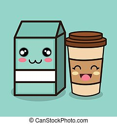 character emotion milk and cup plastic design vector...
