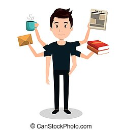 man with many arms multitask graphic vector illustration eps...