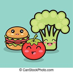 cartoon food fruit vegetable and fast graphic