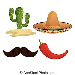 collection icons mexican culture grpahic isolated vector...