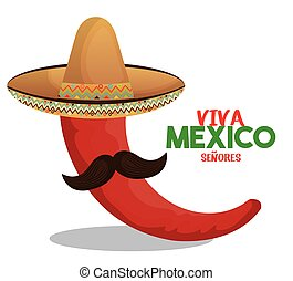 chili red with hat and moustache design